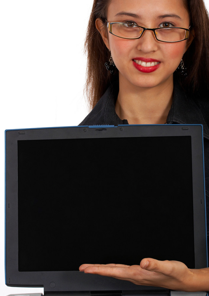 Girl Showing Message On Computer Screen