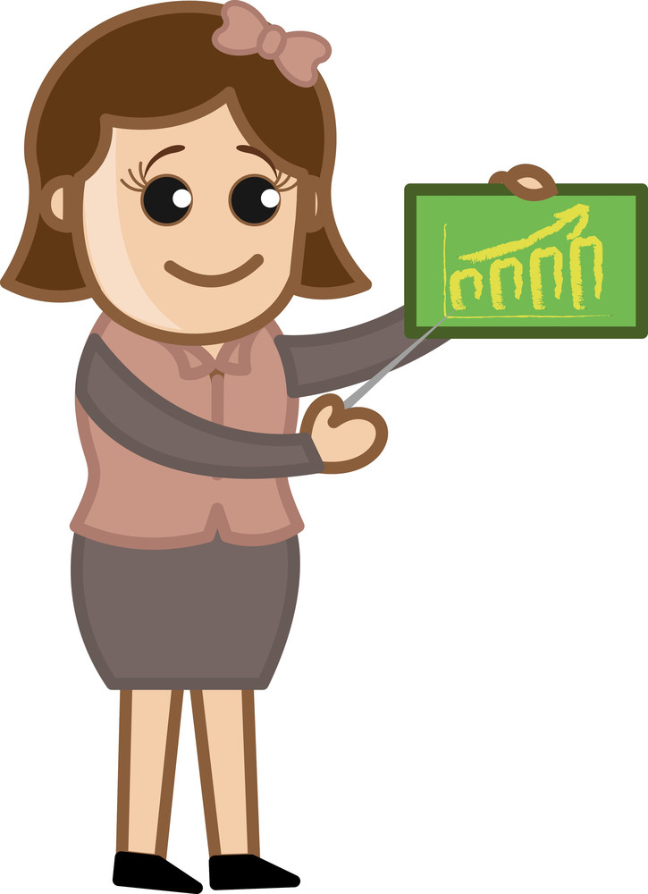 Girl Showing Public Education Statistics - Cartoon Bussiness Vector Illustrations