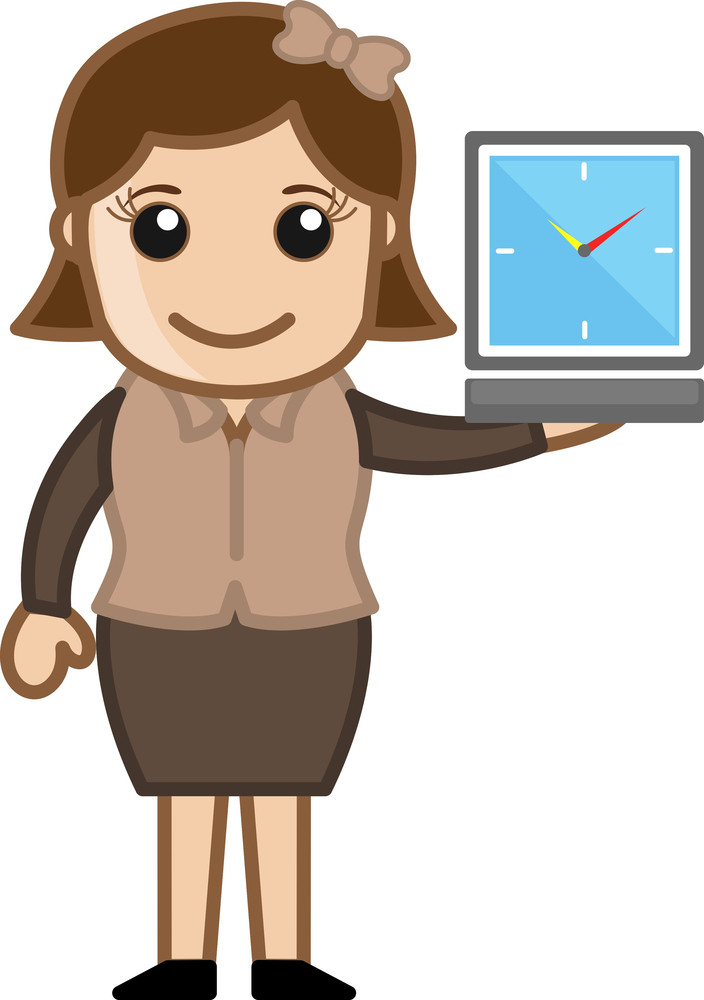 Girl Showing Watch - Time Running Out - Cartoon Bussiness Vector Illustrations