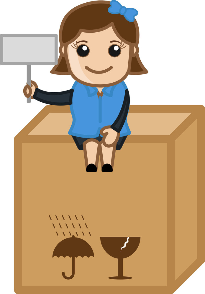 Girl Sitting On Delivery Box - Cartoon Bussiness Vector Illustrations