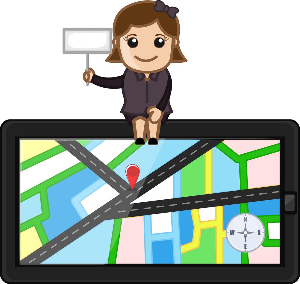Girl Sitting On Gps Navigator Device