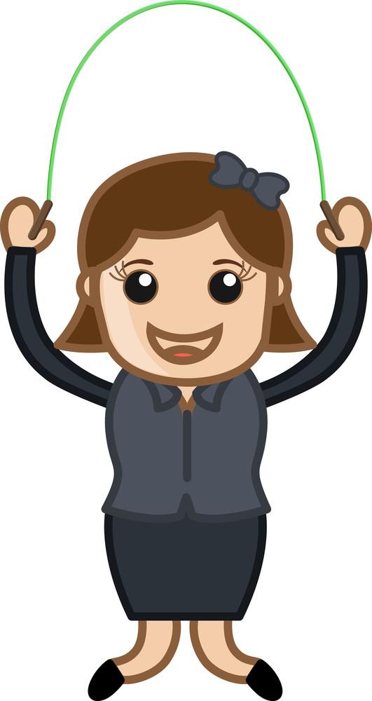 Girl Skipping Rope - Cartoon Vector