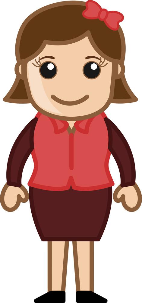 Girl Standing - Business Cartoon Character Vector