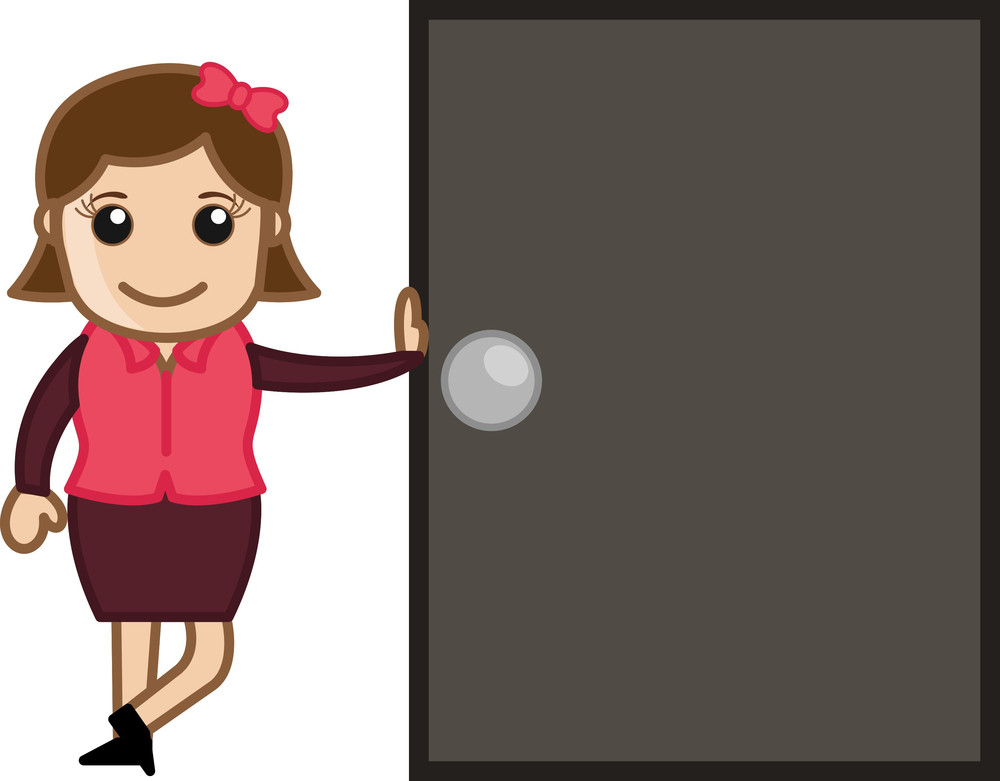 Girl Standing With A Door - Cartoon Bussiness Vector Illustrations