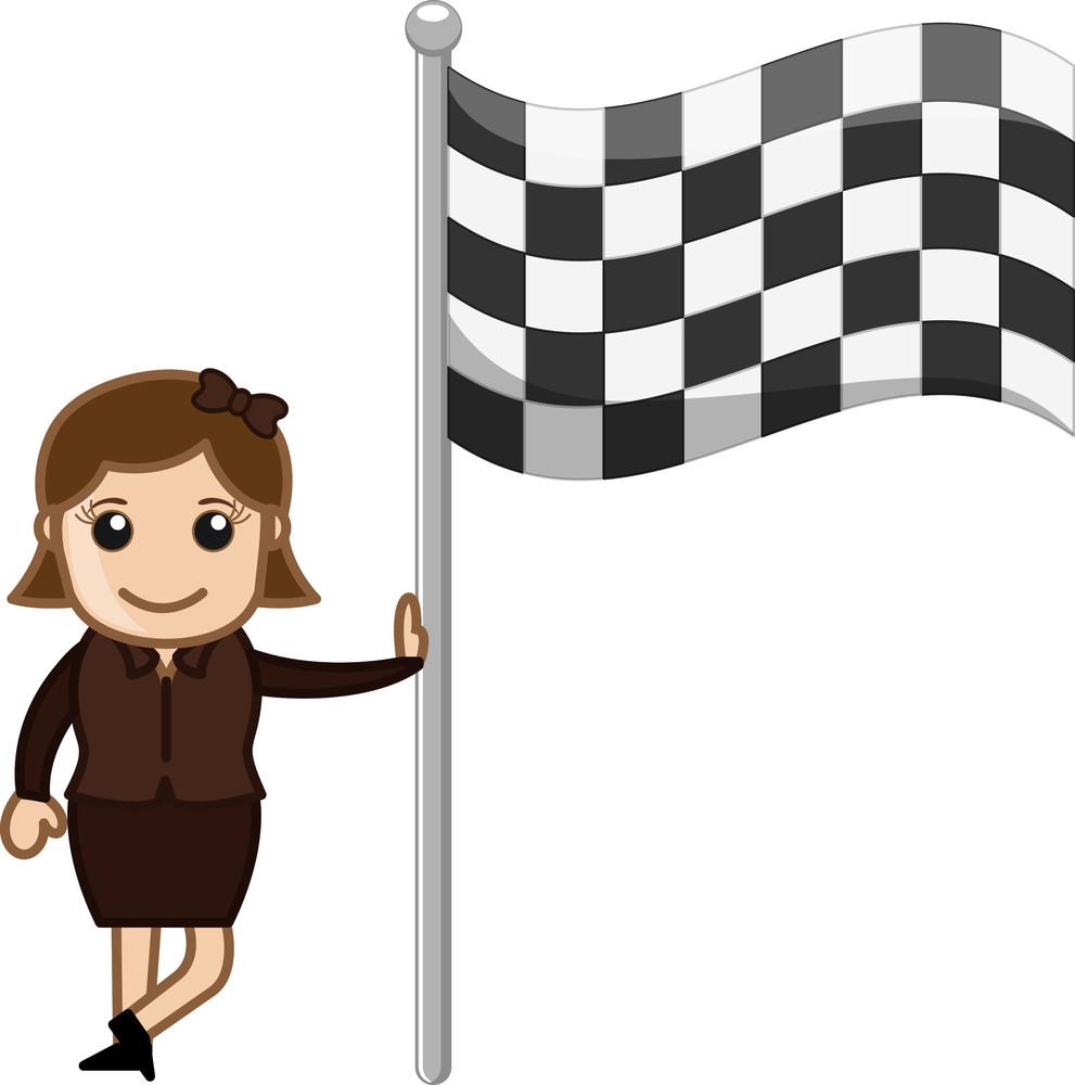 Girl Standing With Racing Flag