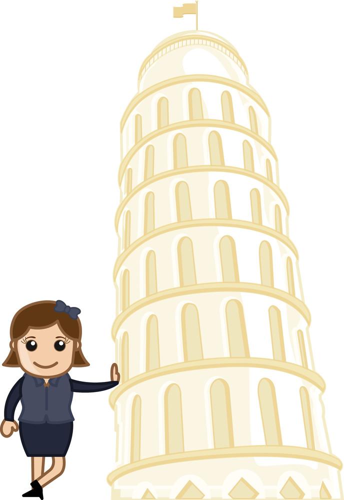 Girl Standing With Tower Of Pisa