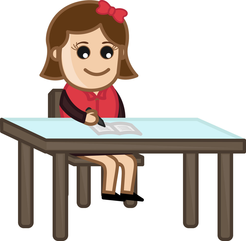 Girl Studying - Cartoon Bussiness Vector Illustrations