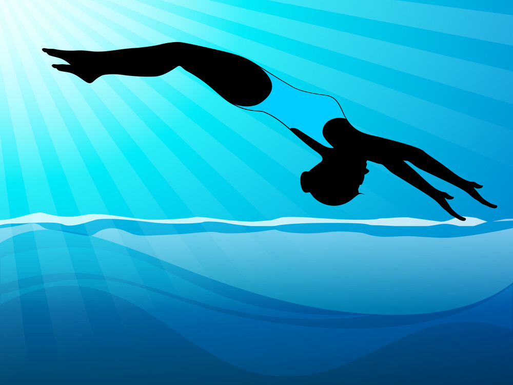 Girl Swimmer Trying Back Up Flip While Diving In Swaimming Pool On Beautiful Water Background.