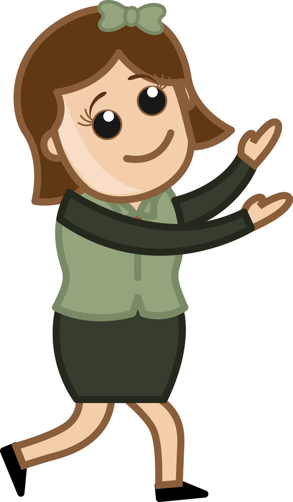 Girl Trying To Catch - Business Cartoon Character Vector