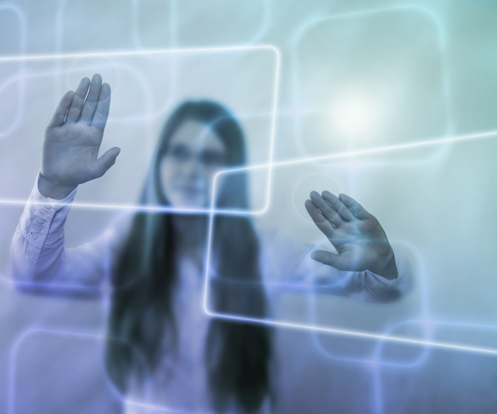 Girl Using Virtual Pc Touch Screen