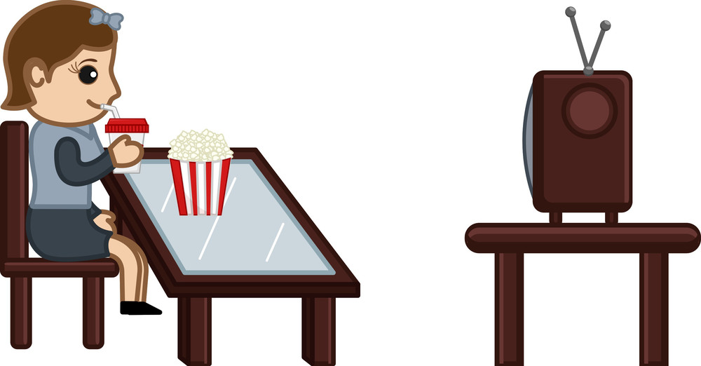 Girl Watching Tv While Having Food - Cartoon Business Vector Character