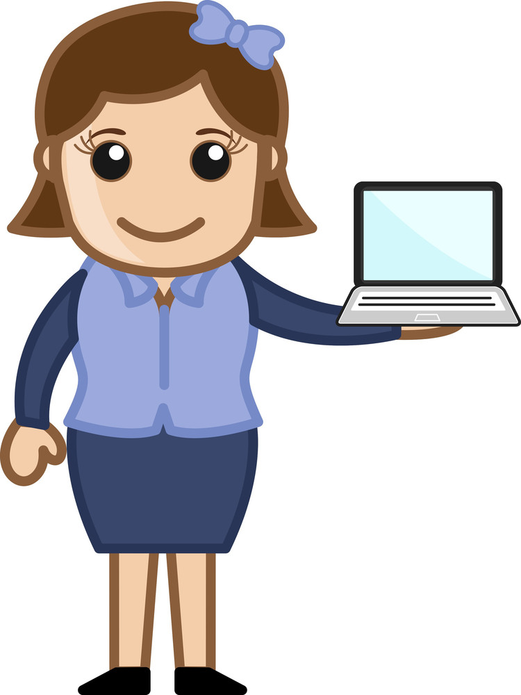 Girl With A Laptop - Vector Illustration