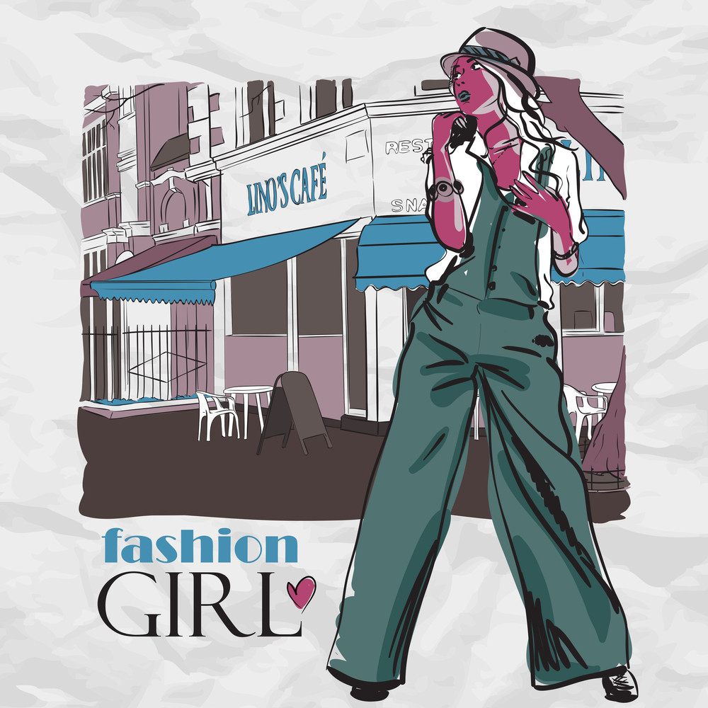 Girl With Bag On A Street-cafe Background. Vector Illustrator.