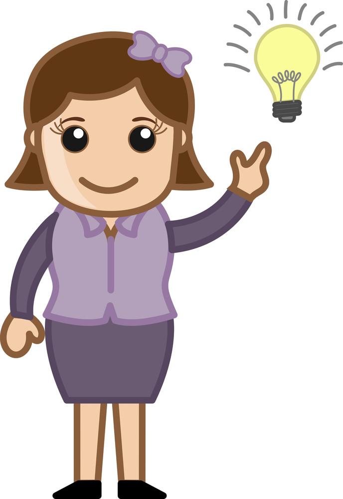 Girl With Idea Bulb - Cartoon Office Vector Illustration