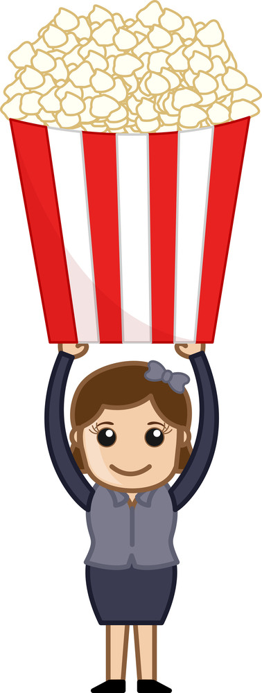 Girl With Popcorns - Cartoon Business Vector Character