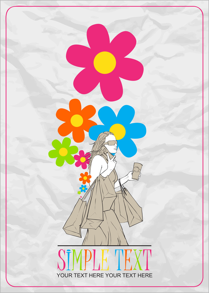 Girl With Shopping Bags And Flowers. Abstract Vector Illustration.