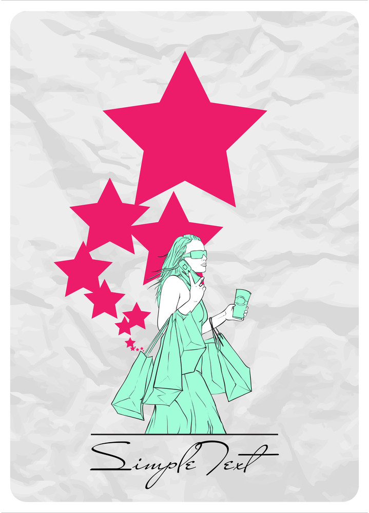 Girl With Shopping Bags And Stars. Abstract Vector Illustration.