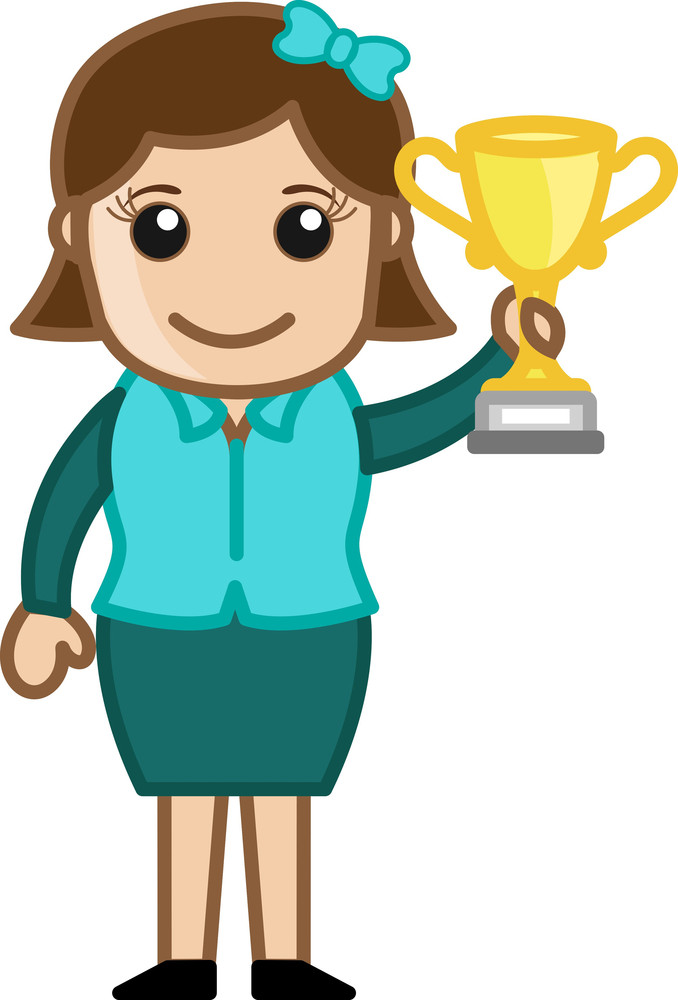 Girl Won A Trophy Cup - Cartoon Bussiness Vector Illustrations