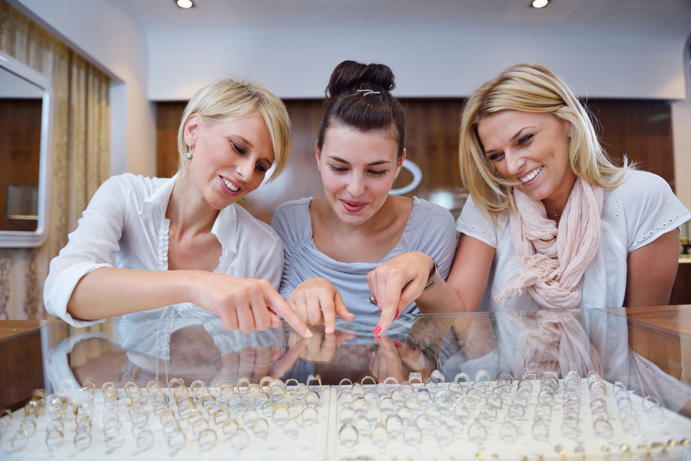 Girls Shopping In Jewelry Store