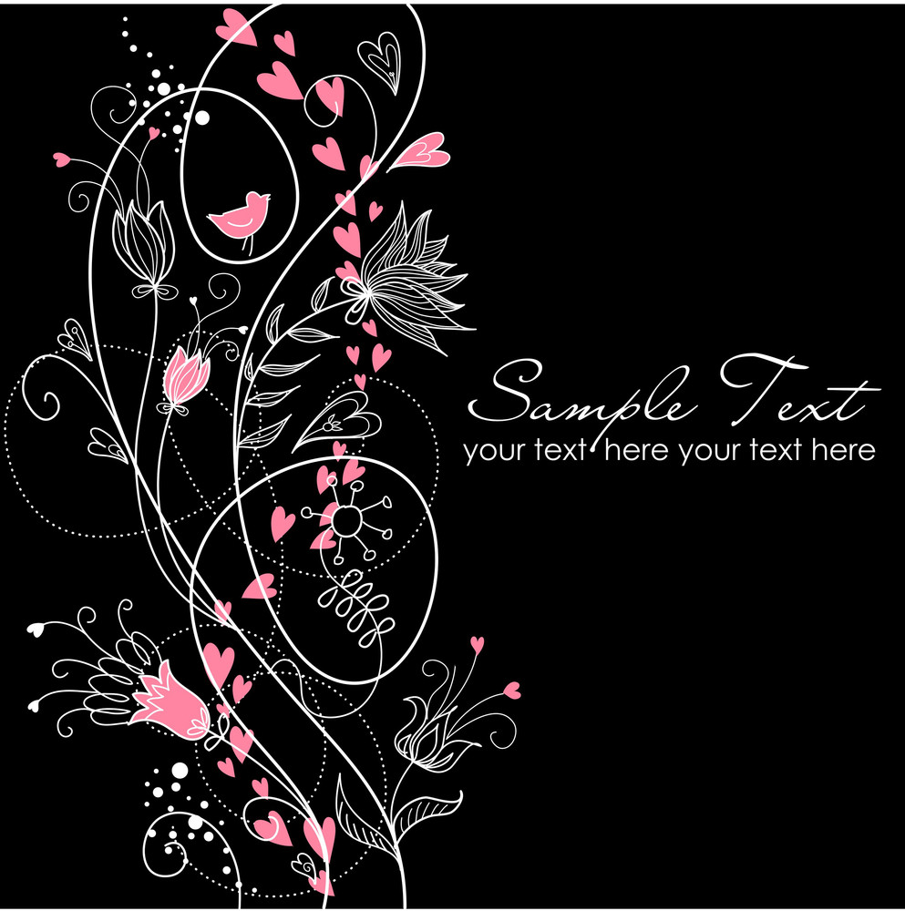 Glamorous Floral Black And White Background