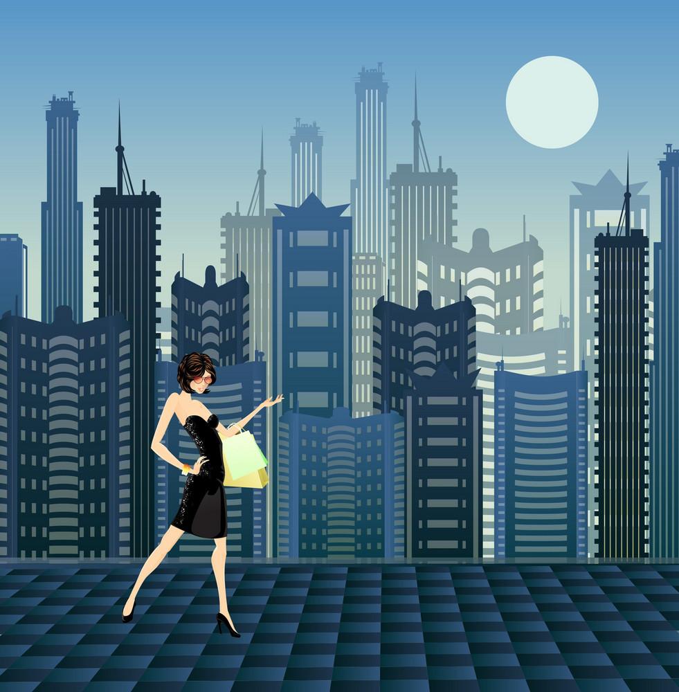 Glamour Girl Vector Illustration