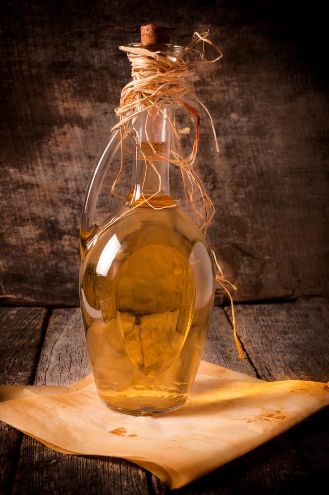 Glass Bottle Of Serbian Drink Rakia