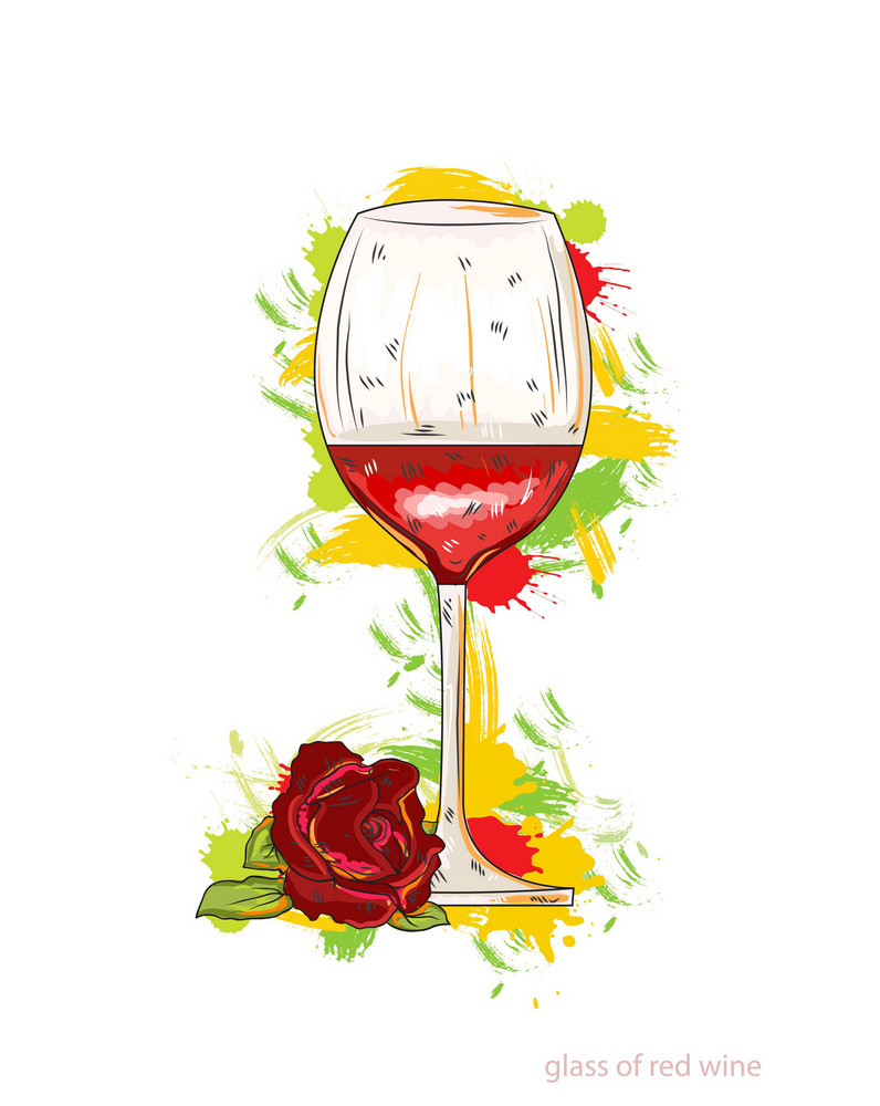 Glass Of Red Wine Vector Illustration