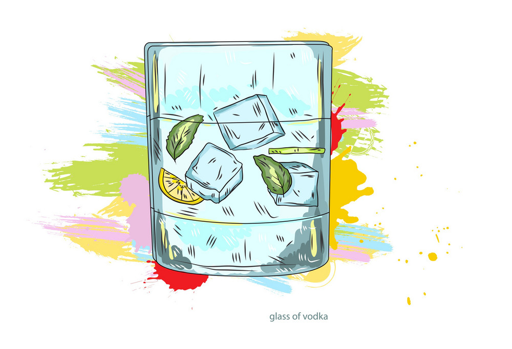 Glass Of Vodka Vector  Illustration