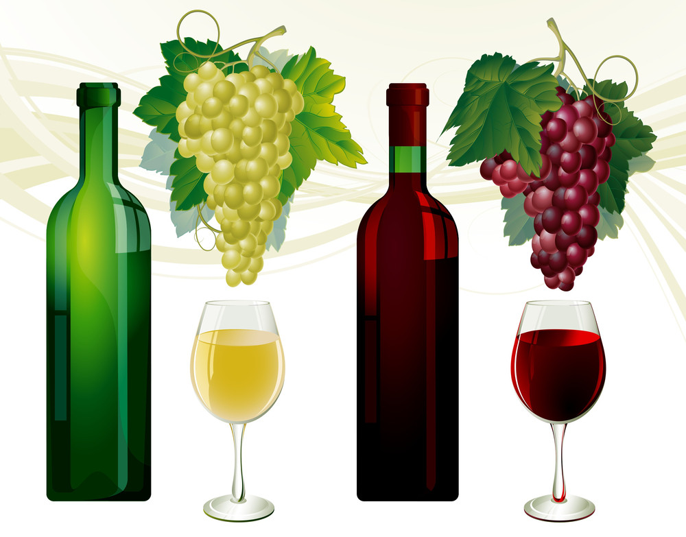Glasses And Bottles Of White And Red Wine, Grapes Over White. Vector Illustration.