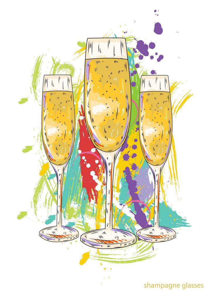 Glasses Of Champagne Vector  Illustration