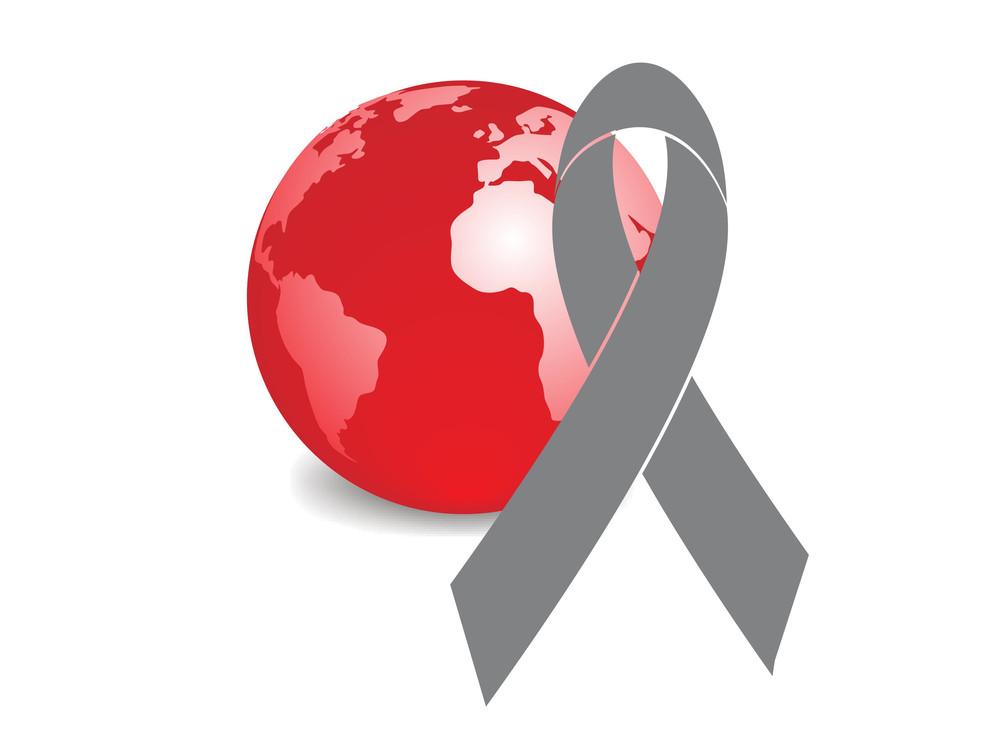 Globe And Ribbon Symbol Of Aids Awareness