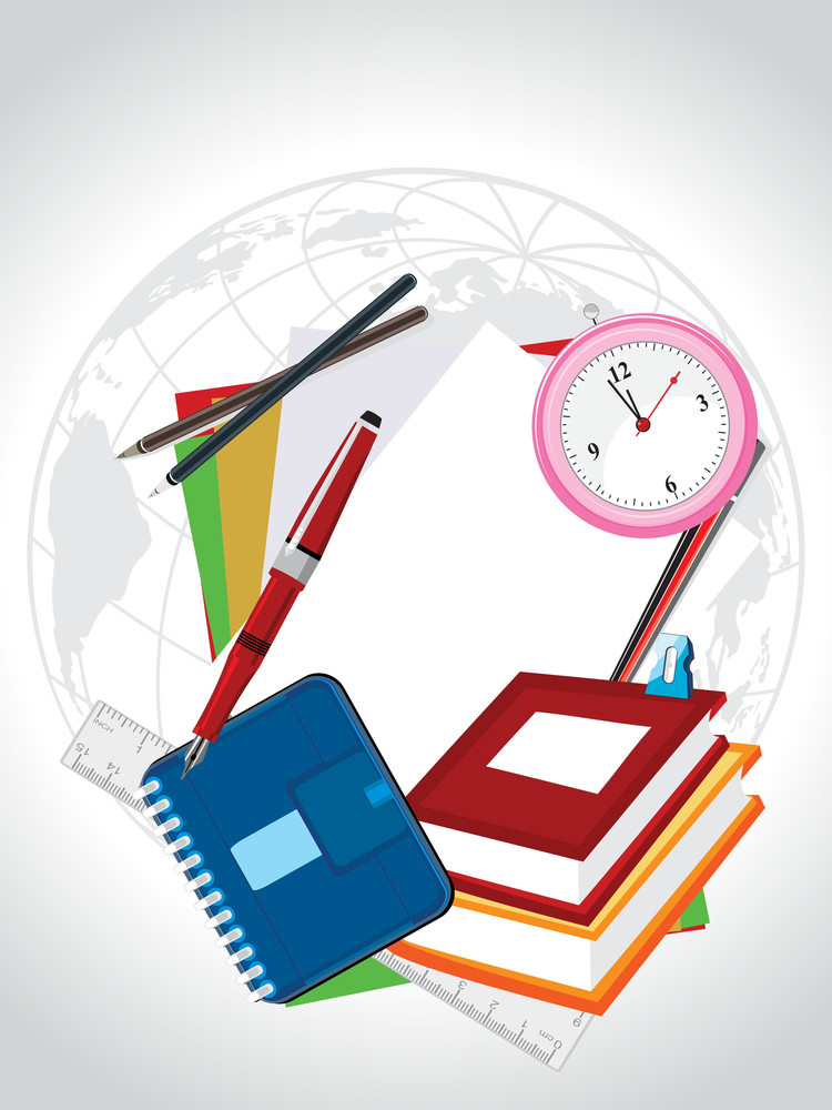 Globe Background With Education Supplies