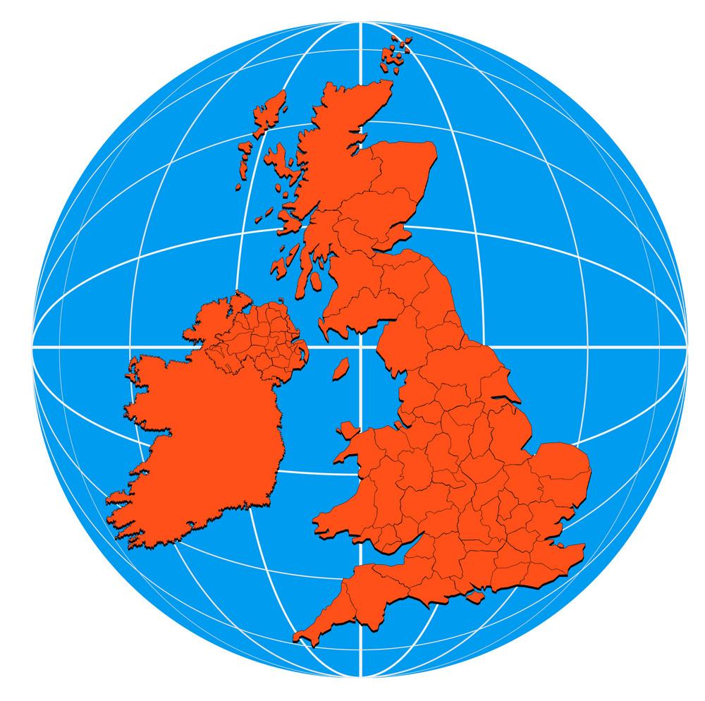 Globe British Isles Map