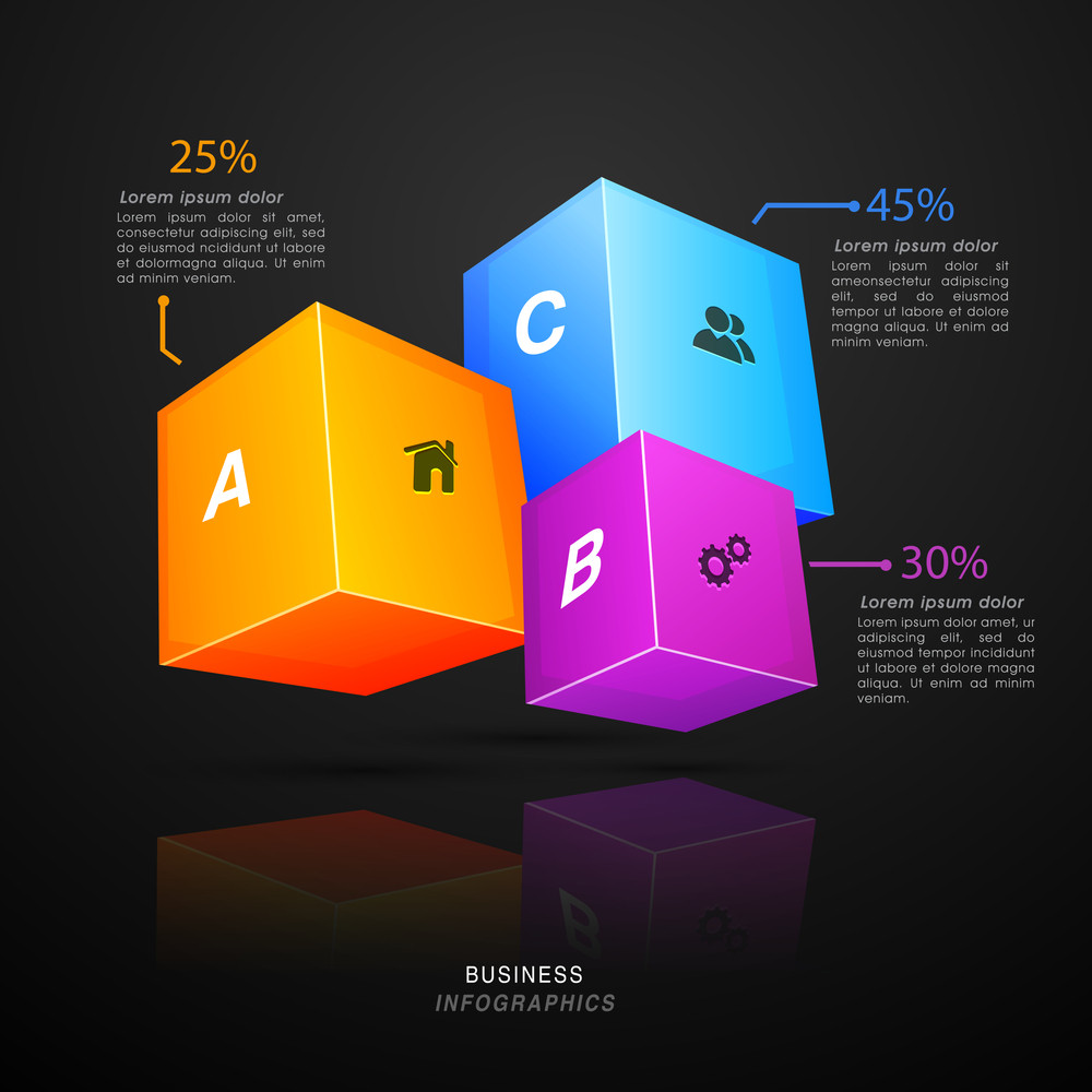 Glossy 3D cubes infographic with web symbols for Business purpose.