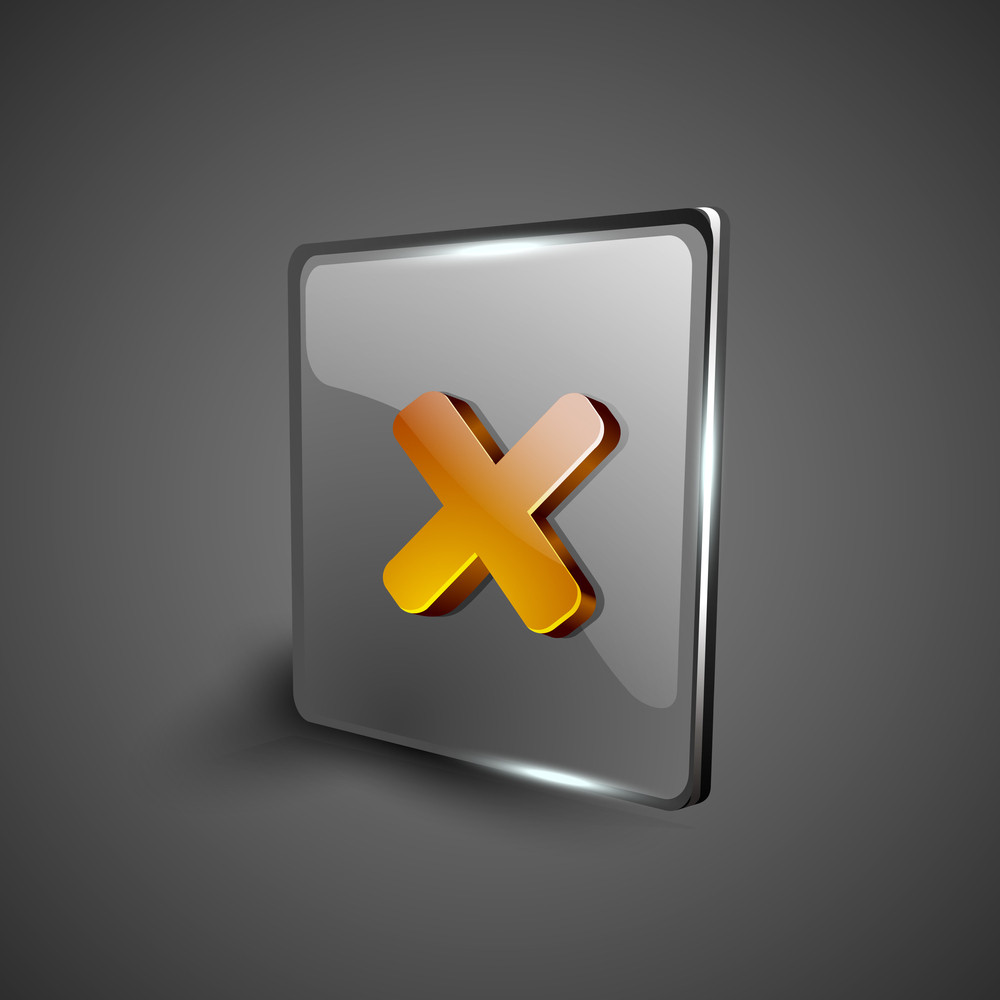 Glossy 3d Web 2.0 Cross Mark Validation Symbol Icon Set.
