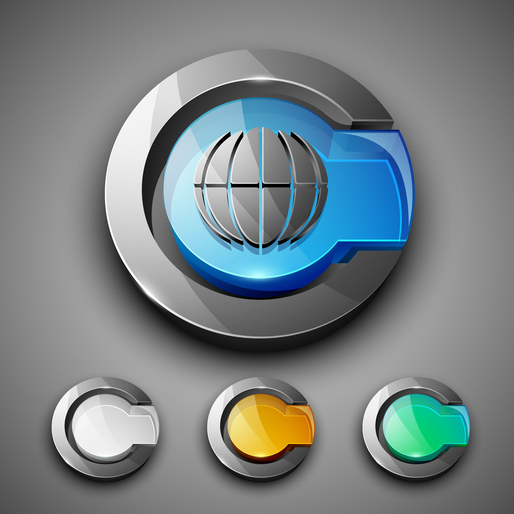 Glossy 3d Web 2.0 Internet Browser Symbol Icon Set.