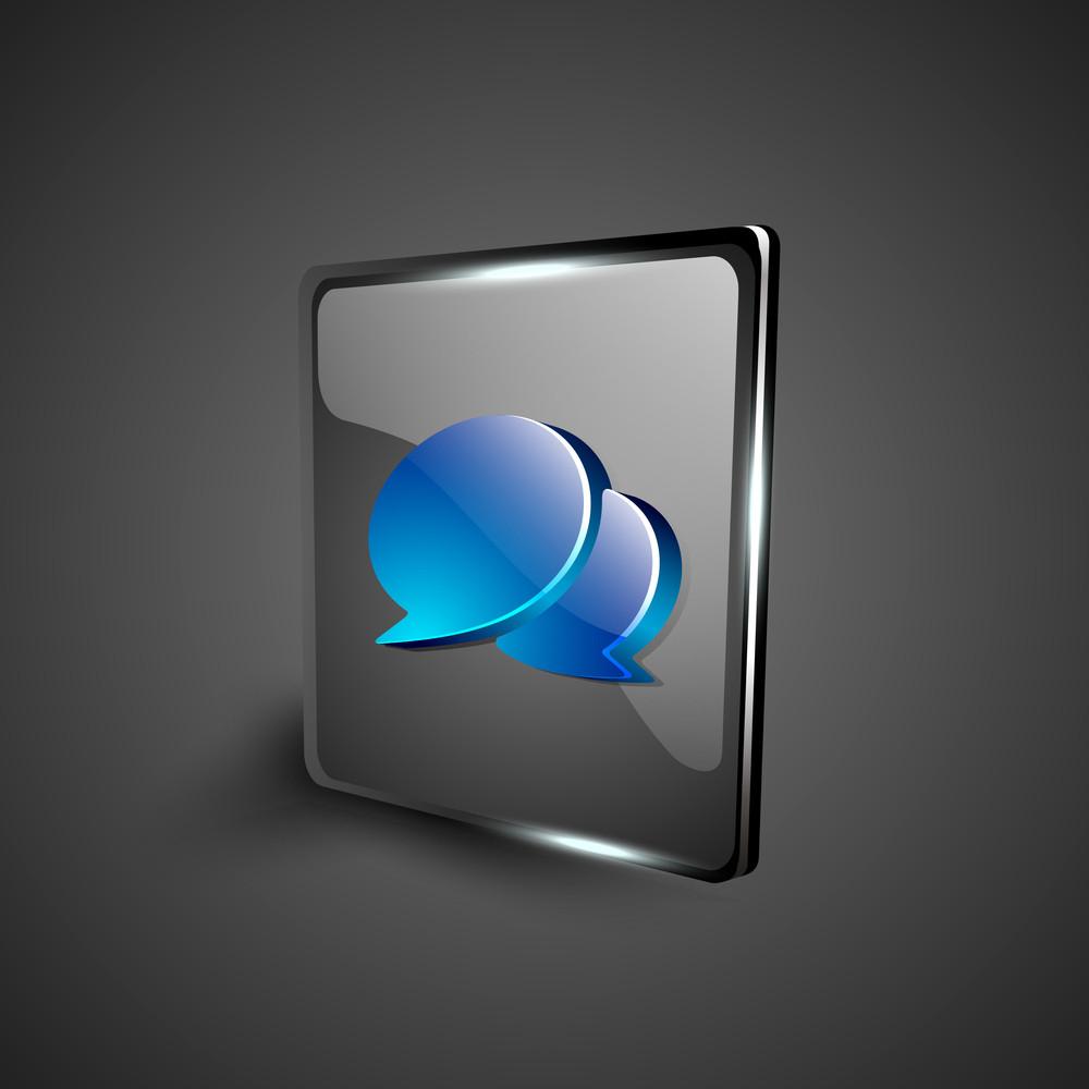 Glossy 3d Web 2.0 Messenger Symbol Icon Set.