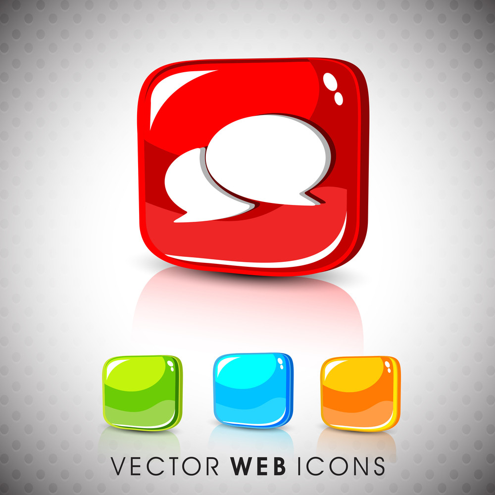 Glossy 3d Web 2.0 Messenger Symbol Icon Set.