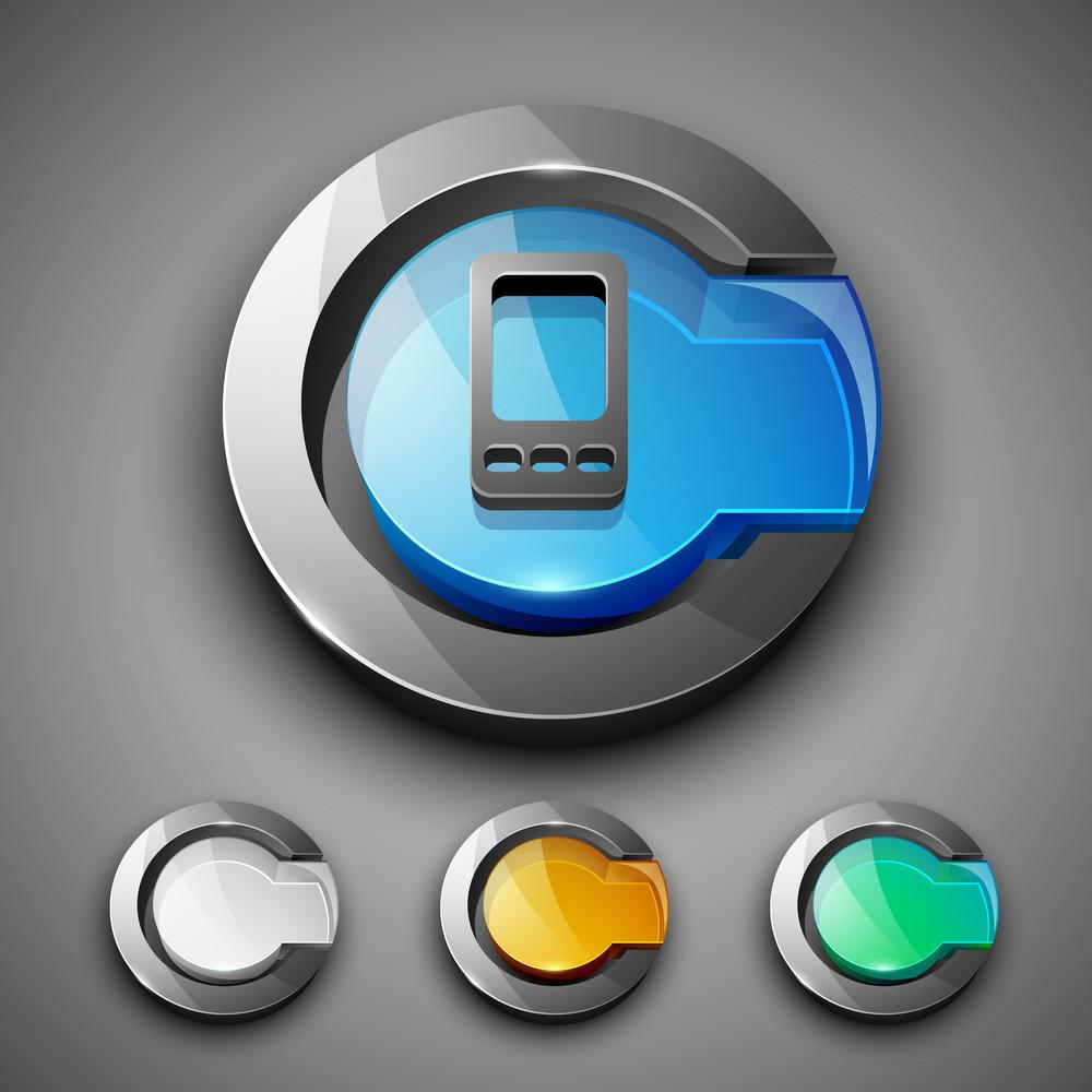 Glossy 3d Web 2.0 Mobile Symbol Icon Set.