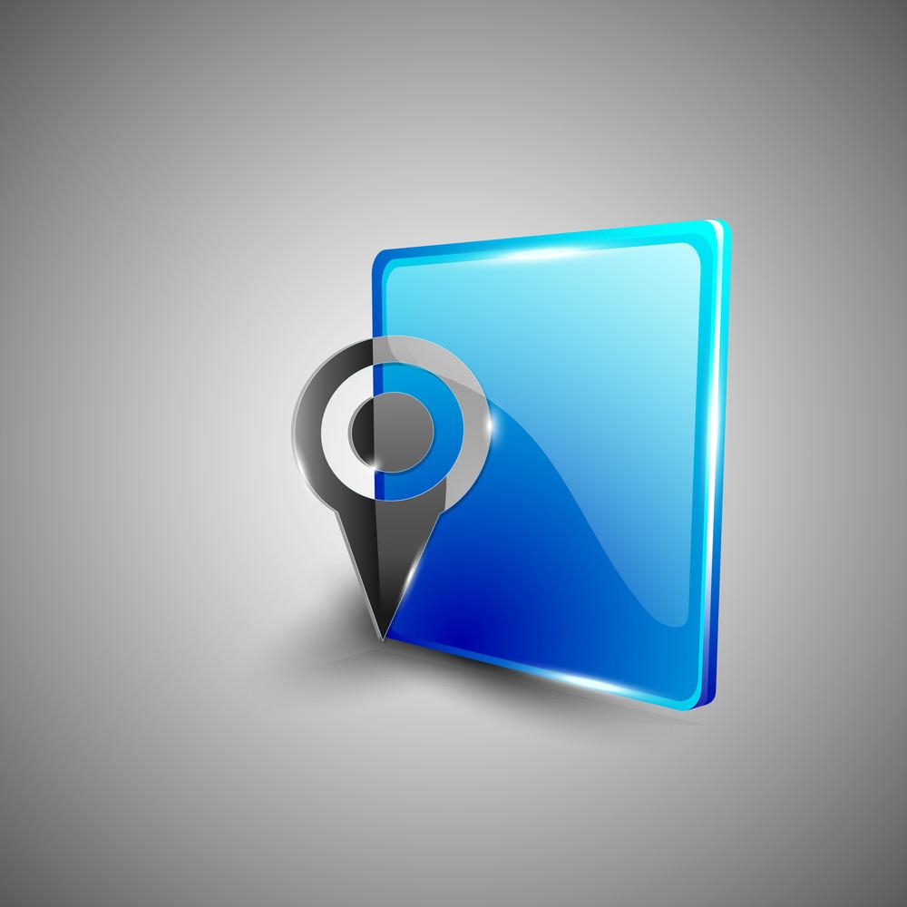 Glossy 3d Web 2.0 Navigation Pin Or Map Pointer Symbol Icon Set.
