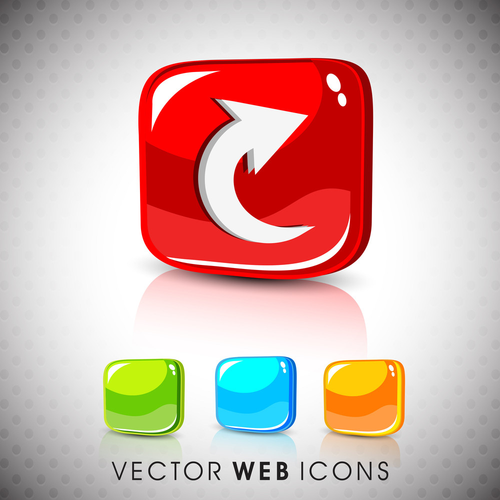 Glossy 3d Web 2.0 Right Arrow Symbol Icon Set.