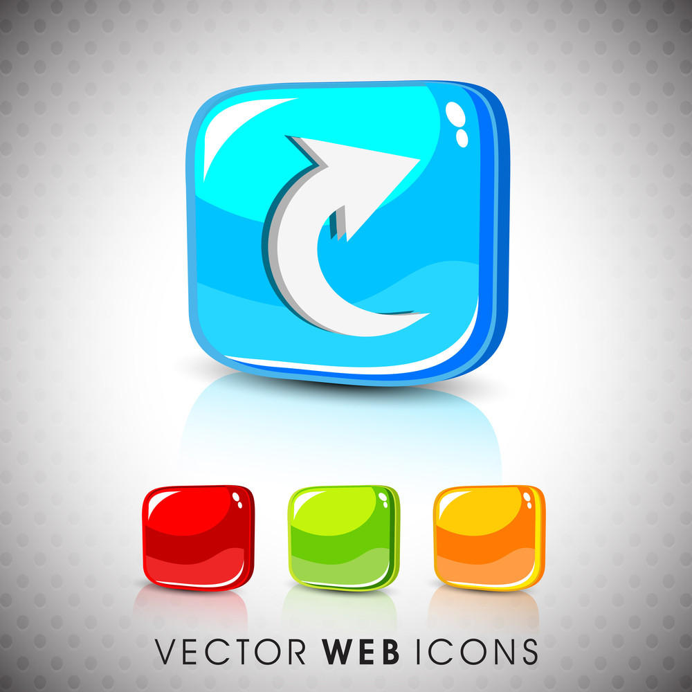 Glossy 3d Web 2.0 Right Arrow Symbol Icon Set.