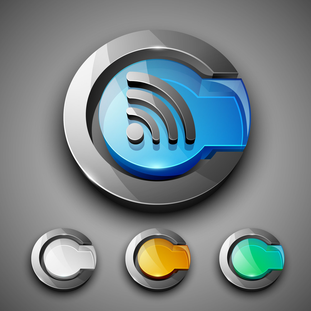 Glossy 3d Web 20 Rss Feed Symbol Icon Set Royalty Free Stock Image