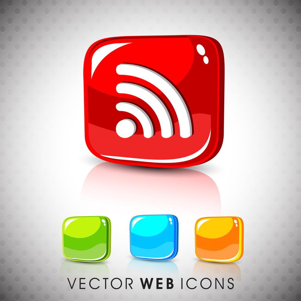 Glossy 3d Web 2.0 Rss Feed Symbol Icon Set.