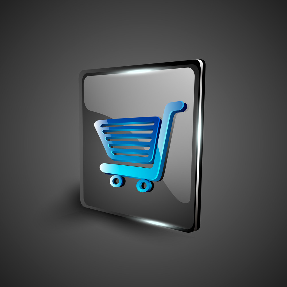Glossy 3d Web 2.0 Shopping Cart Symbol Icon Set.