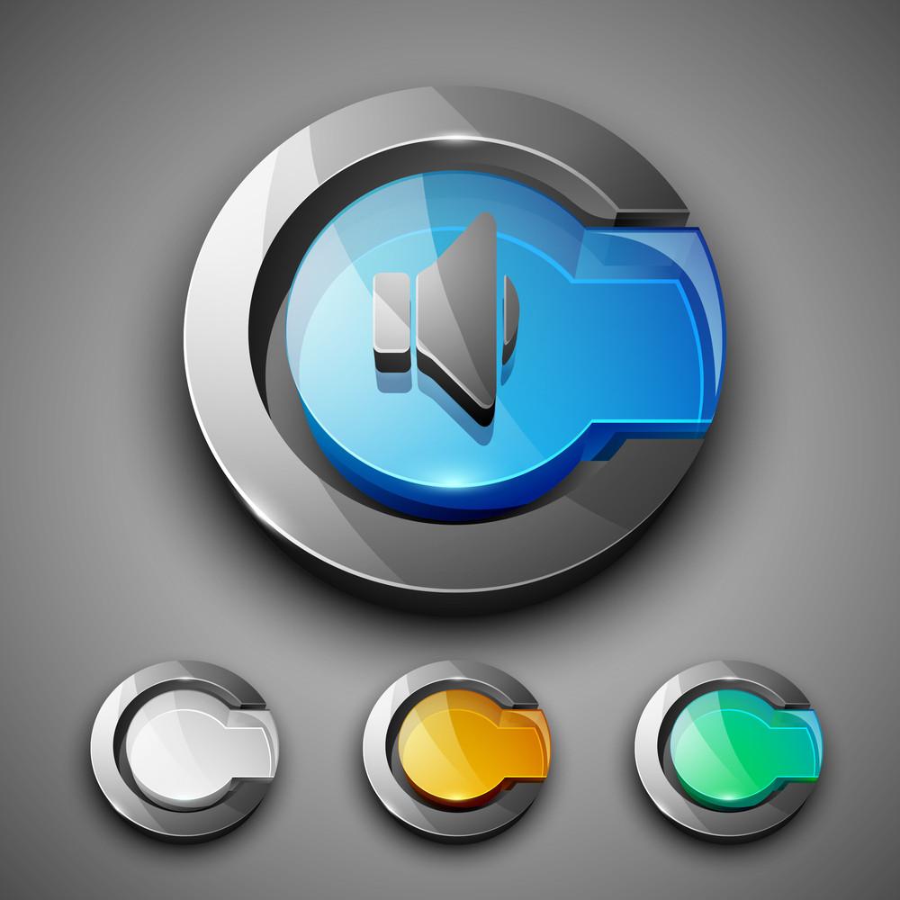 Glossy 3d Web 2.0 Sound Symbol Icon Set.