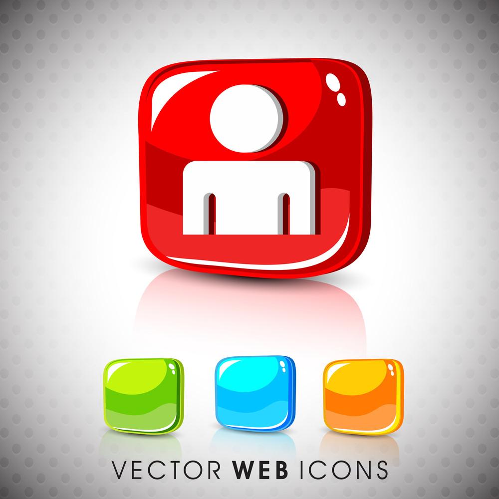 Glossy 3d Web 2.0 Web User Symbol Icon Set.