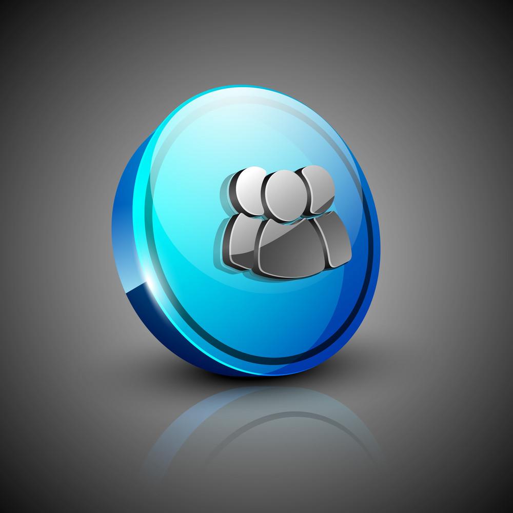 Glossy 3d Web 2.0 Web Users Symbol Icon Set.