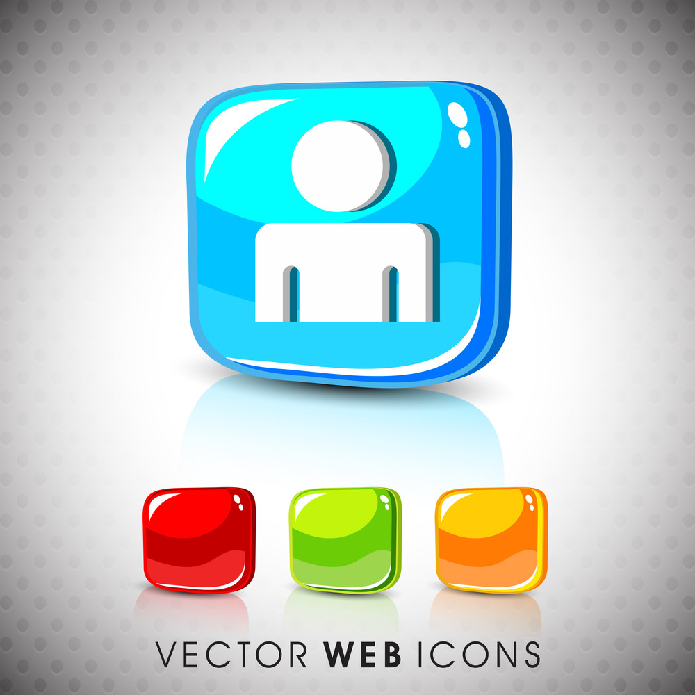 Glossy 3d Web 2.0 Web Users Symbol Icon Set.