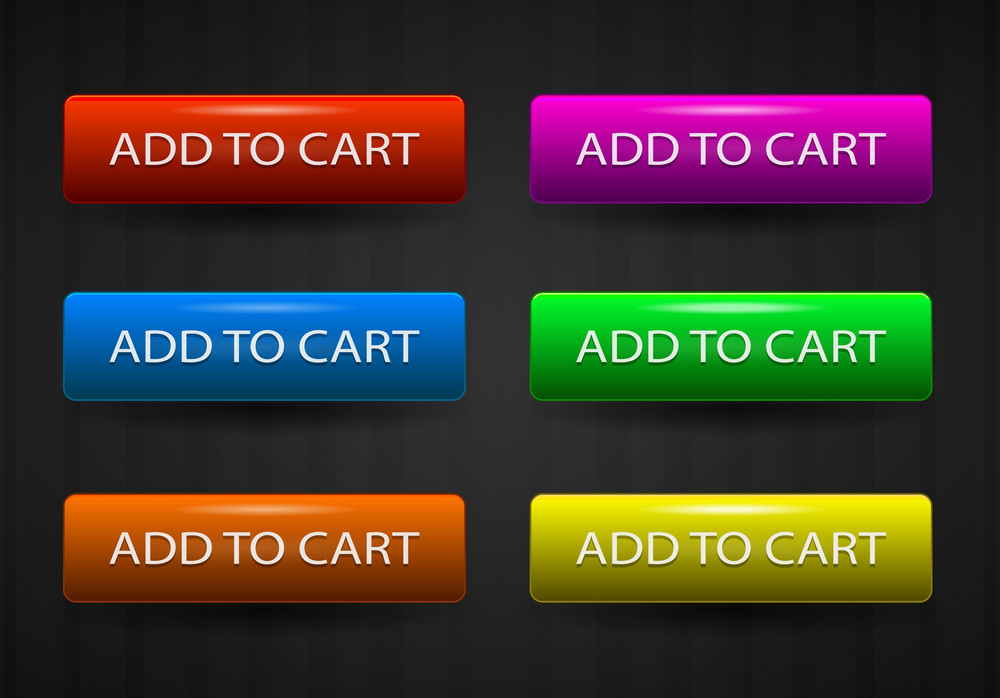 Glossy Add To Cart Buttons Set Vector Illustration